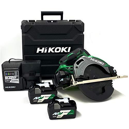 HiKOKI(ハイコーキ) コードレス丸のこ 36V マルチボルト 充電式 刃径165mm グリーン リチウムイオン電池、急速充電器、予備電池付※蓄電池保証書、純正ケース付 C3606DA (2XP)(K) スーパーチップソー黒鯱仕様 蓄電池合計3個セット