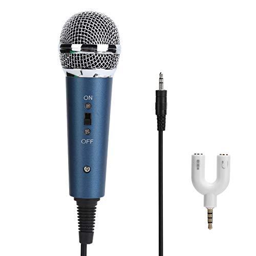 Micrófono con Cable, micrófono de Condensador con Cable de 3,5 mm con Adaptador de Audio en Forma de U de 3,5 mm para computadora Karaoke, Plug and Play(Azul)