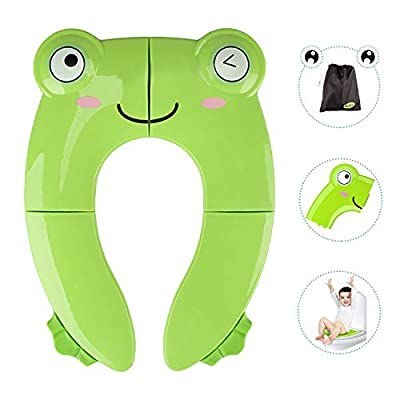 Portable Potty Seat for Toddler Travel - Foldable Non-Slip Potty Training Toilet Seat Cover for Boys Girls, Baby Kids with Drawstring Bag (Green Frog) from Maliton