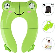 Portable Potty Seat for Toddler Travel - Foldable Non-Slip Potty Training Toilet Seat Cover for Boys Girls, Baby Kids with Drawstring Bag (Green Frog)
