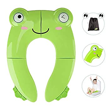Portable Potty Seat for Toddler Travel - Foldable Non-Slip Potty Training Toilet Seat Cover for Boys Girls Baby Kids with Drawstring Bag  Green Frog