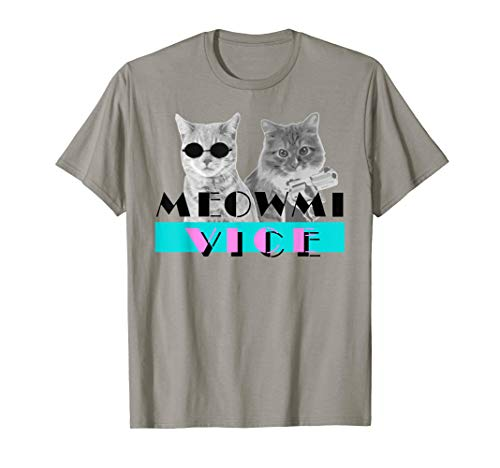 Funny Meowmi Vice Kittens T-shirt for Men and Women for fans of cats and the 80s, S to 2XL