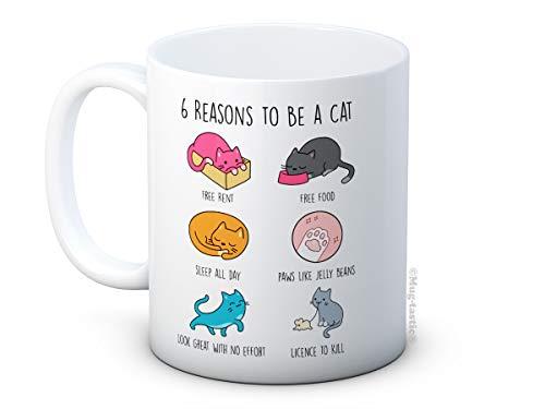mug-tastic 6 Reasons to Be a Cat - Taza de café de cerámica para Amantes de los Gatos