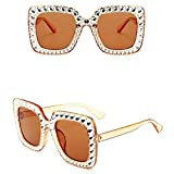 DLSM Gafas de Moda Gafas de Sol de Diamantes de Gran tamaño Marco Grande Gafas de Diamantes de imitación para Mujer Gafas de protección Retro cuadradas Gafas al Aire Libre UV400-Broncearse