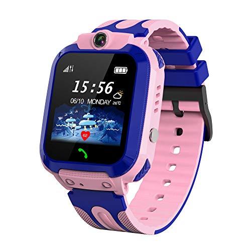 Vannico Smartwatch Niños, Reloj Inteligente Niño IP68, LBS, Llamada Bidireccional, SOS Modo de Clase, Cámara, Juegos, Regalo para Niño Niña de 3-12 años (Rosa)