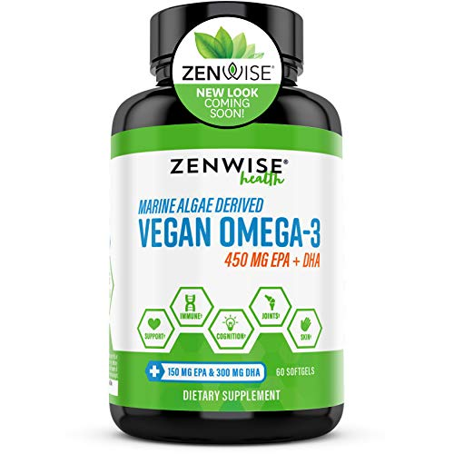 Vegan Omega 3 Supplement - Fish Oil Alternative Source for EPA & DHA Fatty Acids - for Joint Support & Immune System - Heart & Skin + Brain Health Booster - Marine Algal Formula - 60 Softgels