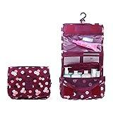 BryTravel Trousse de Maquillage Portable à Suspendre avec Plusieurs Poches Ordinaire Vin Rouge Fleur