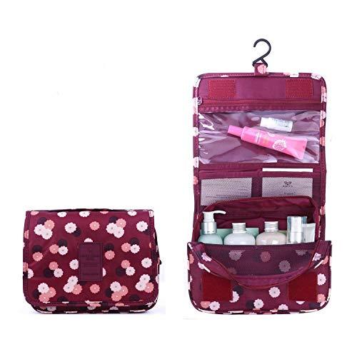 BryTravel Bolsa de Maquillaje portátil con múltiples Compartimento Flor roja de Vino Normal