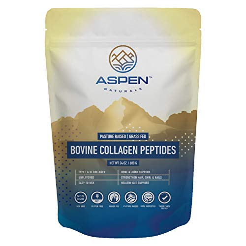 Aspen Naturals Grass Fed Bovine Collagen Peptides Powder - USA Sourced from USDA Inspected Cattle, Gluten Free, Paleo Friendly, Water Soluble, Flavorless, Easily Mixes into Liquids - 24oz
