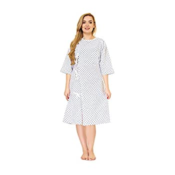 LUXCARE Comfortable Hospital Gowns for Men and Women [2 Pack] Hospital Gowns Washable   Unisex Patient Medical Gowns Fits All Sizes up to 2XL for Elderly Hospice Home Care Labor and Delivery