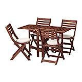 IKEA Tisch APPARO und 4 Klappstühle Outdoor braun gebeizt Frösön/Duvholmen beige 892.685.71