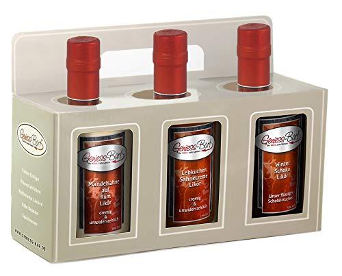 Geschenkbox 3x 0,5L Winterliköre Mandelsahne auf Rum, Lebkuchen, Winter Schokolade Likör Präsent
