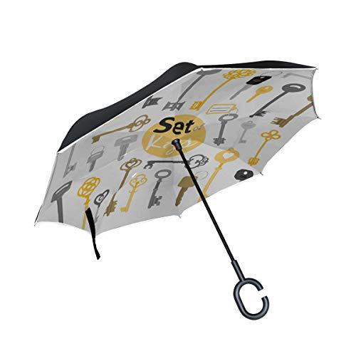 Doppellagige umgekehrte Klappstühle Regenschirm Vintage-Stil Schöner Goldener Schlüssel Damen Klappschirm Winddichter Reverse Umbrella Winddichter UV-Schutz für Regen Mit C-förmigem Griff