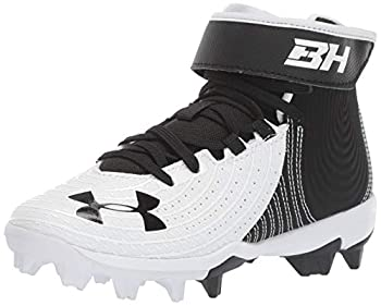 Under Armour Boy s Harper 4 Mid RM Jr Baseball Shoe Black  001 /White 5 Big Kid