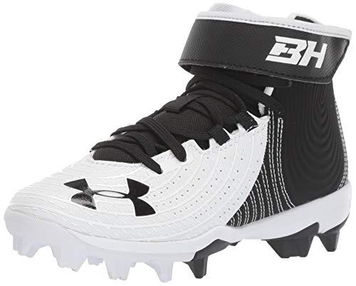 Under Armour Boy's Harper 4 Mid RM Jr. Baseball Shoe, Black (001)/White, 5 Big Kid