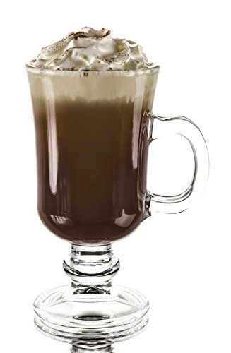 Original Footed Clear Glass Irish Coffee Mug, Set of 6 - 7.75 Ounce