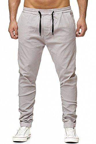 Reslad Chino-Hose Herren Jogging-Jeans Jogger Chino Freizeithose Jogginghose RS-2082 Grau M