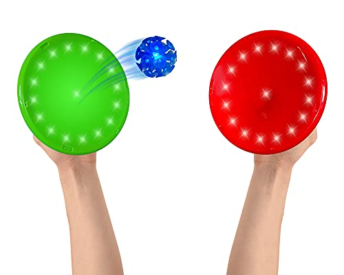 Mindscope PaddleBritez 2 in1 Light Up Paddle Ball Game and Frisbee (Red/Green)