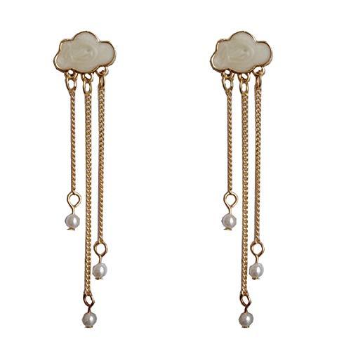 ZSDFW Pendientes de nubes con cadena larga, encantadores pendientes de gota para mujeres y niñas, accesorios de regalo