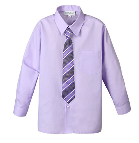 Spring Notion Big Boys' Cotton Blend Dress Shirt and Tie Set 8 Lilac