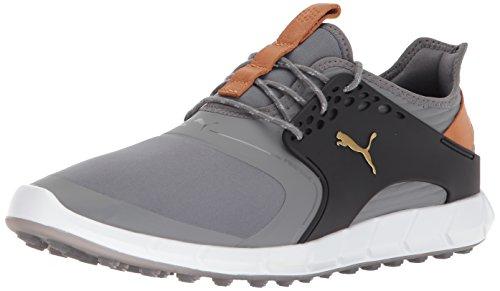 Puma Golf Men's Ignite Pwrsport Golf Shoe, Quiet Shade/Team Gold/Black, 10.5 Medium US