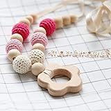 Mamimami Home Baby Spielzeug kautable Halskette Kinderkrankheiten Buche Holz Blume Anhänger häkeln Perlen handgemachte DIY Pflege Schmuck