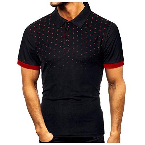 Yowablo T-Shirt Top Blouse Hommes Personnalité De La Mode Casual Mince À Manches Courtes À Pois (5XL,3 Noir)