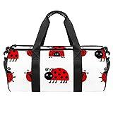 Ladybug Mariquita Icono Set Deportes Gimnasio Bolsa de viaje cilíndrica Bolsa de viaje con bolsillo mojado Bolsa de entrenamiento ligera de viaje con correa de hombro para hombres y mujeres