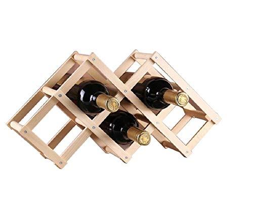 Ducomi Vinoria - Scaffale Portabottiglie Pieghevole in Legno per Vino ed Enoteca - Cantinetta Espositore Elegante e Raffinata per 6 Bottiglie (Legno Scuro)