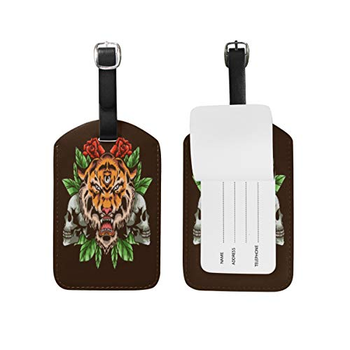 Angry Tiger Head Skull-Roses Luggage Baggage Suitcase Tags Leather ID Label for Travel(2pcs)