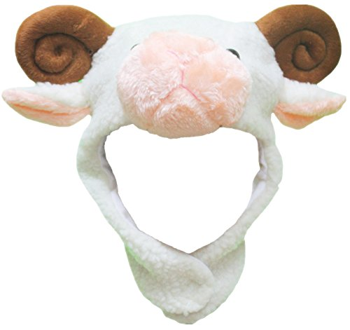 Petitebelle Brown White Sheep Hat Mask Unisex Dress Up Party Costume for Child (White)
