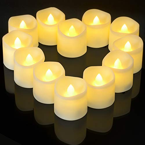 Flickering Tea Lights with 6 Hours Timer, Ymenow 12pcs CR2450 Battery Operated LED Flameless Tealight Bulk Bright Electric Candles for Home Christmas Wedding Birthday New Year Party Decor - Warm White