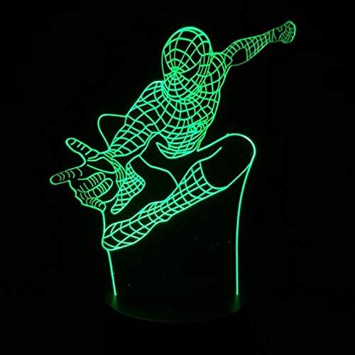 illusion Night Light Marvel Superhéroe Spiderman Optical Bulbing - Lámpara de noche para niños (LED, 7 colores cambiantes)