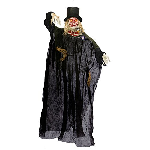 Halloween Haunters Hanging 6 Foot White Pumpkin Head Scarecrow Ghost Reaper with Orange LED Eyes Prop Decoration - Creepy Ghoul Laughs, Evil Blood Face - Haunted House Graveyard Entryway Display