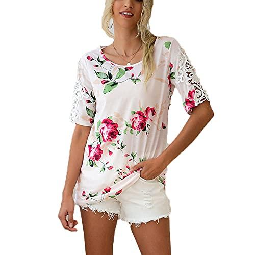 RWXXDSN Beautiful Women's Round Neck Printing Casual Short-Sleeved Simple Top Women's T-Shirt