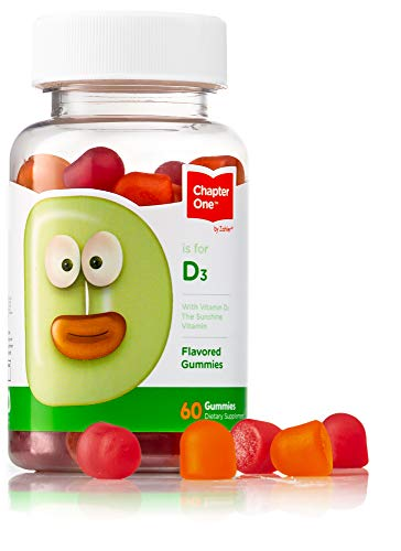 Chapter One Vitamin D3 Gummies, Great Tasting Chewable Vitamin D3 for Kids, Vitamin D3 1000IU, Certified Kosher (60 Flavored Gummies)