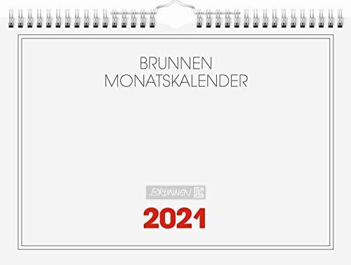 Brunnen 1070146001 Wandkalender/Monatskalender Modell 701 46, 1 Seite = 1 Monat, 297 x 210 mm, Karton-Umschlag weiß, Kalendarium 2021, Wire-O-Bindung mit Aufhänger