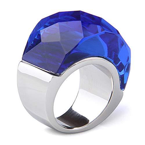 BVGA Anillo retro para hombre y mujer, de acero de titanio noble con incrustaciones de piedras preciosas 10 anillos azules para mujeres, niñas, hermanas, amigas, regalo significativo de joyería