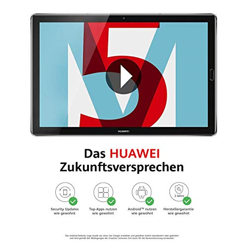 Huawei MediaPad M5 27,43 cm (10,8 Zoll) Tablet-PC (LTE, 32 GB interner Speicher, 4 GB RAM, OctaCore Prozessor, Android 7.0), grau