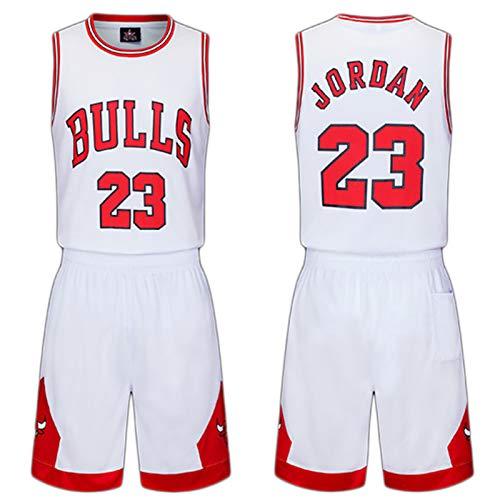 Kinder Trikots Set- Bulls Nr. 23 Trikot Basketball Shirt Weste Top Sommer Shorts für Jungen und Mädchen-White-M