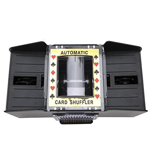 Longzhuo Kartenmischer Elektronisches Mischen Automatische batteriebetriebene Spielkartenmischmaschine für 1 bis 4 Deck Poker, Rommé usw. (Schwarz)