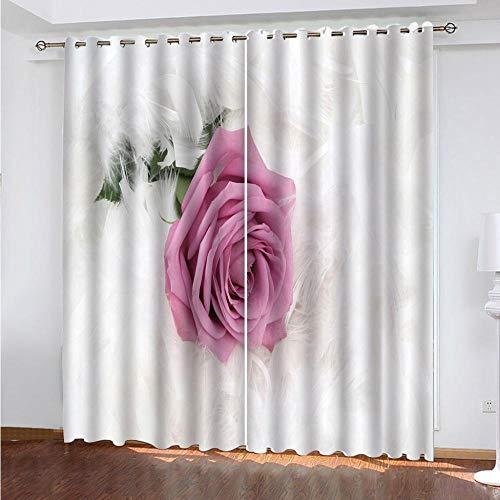 LUOWAN Cortinas de Dormitorio Moderno Flor Rosa Pluma Blanca - 264x242cm para Ventana Cortina con Ojales para Salón Habitación Poliéster Suave Moderna Decorativa Hogar