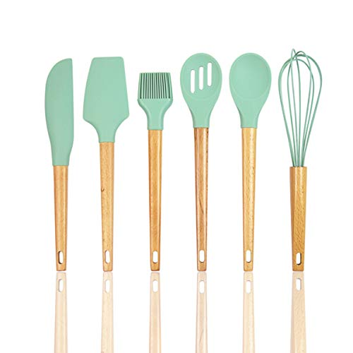 6-Piece Kitchen Cooking Utensil Silicone/Wooden Set by All-American Kitchen