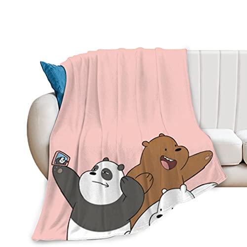 We Bare Bears Manta cálida alternativa manta lavable, manta de felpa de lana multifuncional para sofaBeds, camping tren