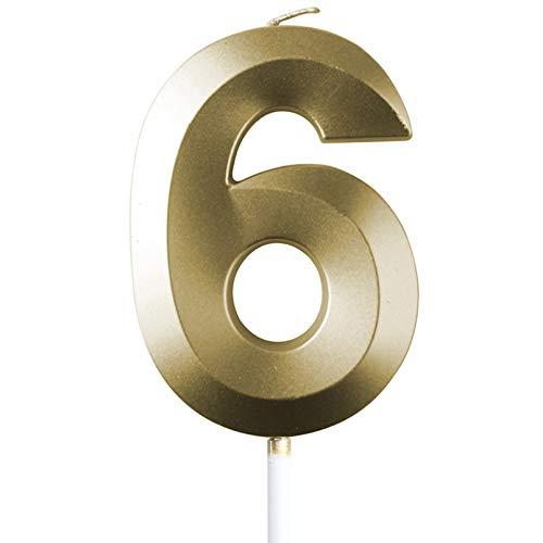"saizone Velas de Números, Velas numéricas para Tarta de cumpleaños, Decoraciones para Tartas, Velas de cumpleaños, Color Dorado champán, decoración para Tartas con Purpurina 0-9.""6"""