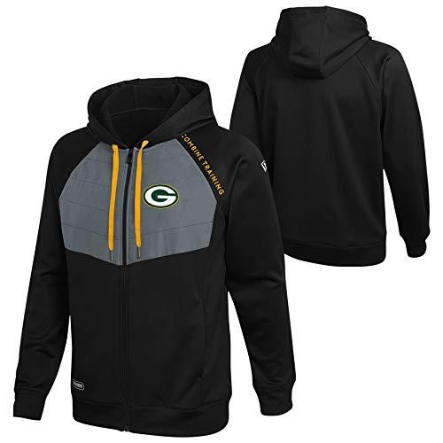 New Era NFL Football Men's Draft Pick Full Zip Performance Hoodie, X-Large , Green Bay Packers - Black