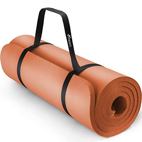TRESKO Tapis d'exercice Fitness Tapis de Yoga Tapis de Pilates Tapis de Gymnastique, sans Phtalates/en Mousse NBR (Orange, 185 x 60 x 1,5cm)
