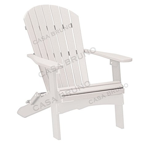 CASA BRUNO Original Oversized Alabama Adirondack Chair klappbar, aus recyceltem Polywood® HDPE Kunststoff, weiss - kompromisslos wetterfest