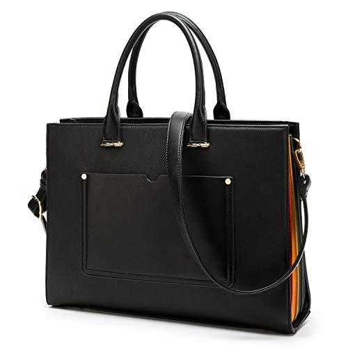 Laptop Bag for Women - 13-14 Inch Multi Pocket PU Leather Laptop Tote Bag - Design Ladies Computer Shoulder Bags (Black)