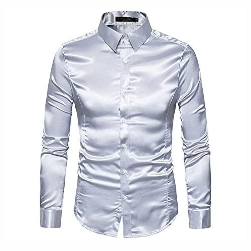 SatéN Liso para Hombres Camisa De Esmoquin De Color Puro para Hombres Camisa De Vestir Formal para Hombres Camisa De Manga Larga con Botones Y Botones Camisa De Negocios Informal Camisa Casual De